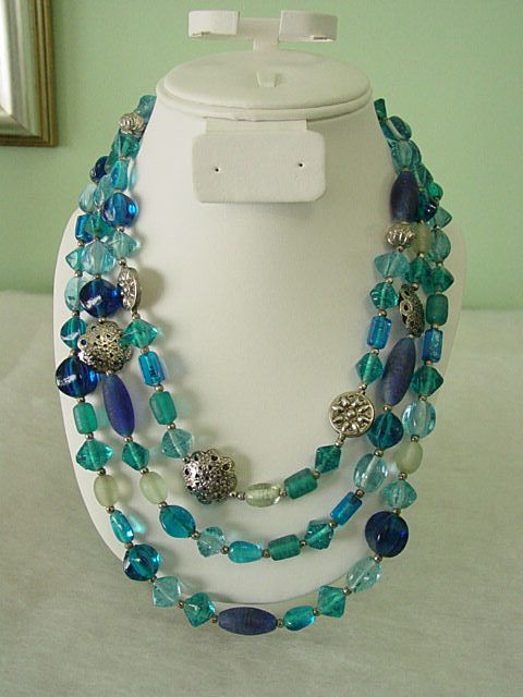 Shades of Blue Glass Beads Multi Row Chunky Necklace
