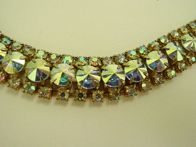 Changing Color Mirror Finish Aurora Borealis Rhinestone Bracelet