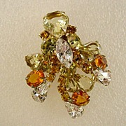 Large  Layered Rhinestone Pin with Colors of Orange Green Champayne Open Back Stones
