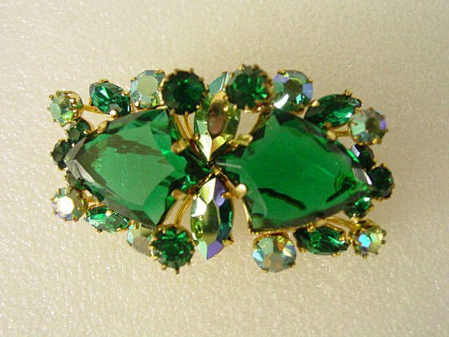 Juliana Green Art Glass & Aurora Borealis Pin Brooch