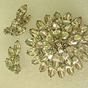 Layered  Open Foil Back Rhinestone Demi Parure Pendent or Brooch and Earrings