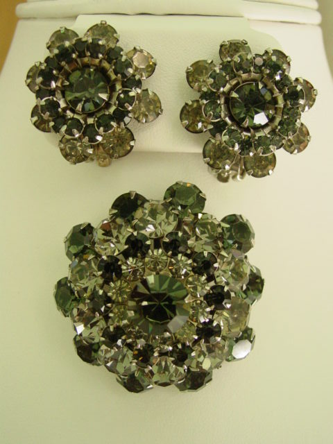 Weiss Rhinestone Demi Parure Matching Earrings and Brooch