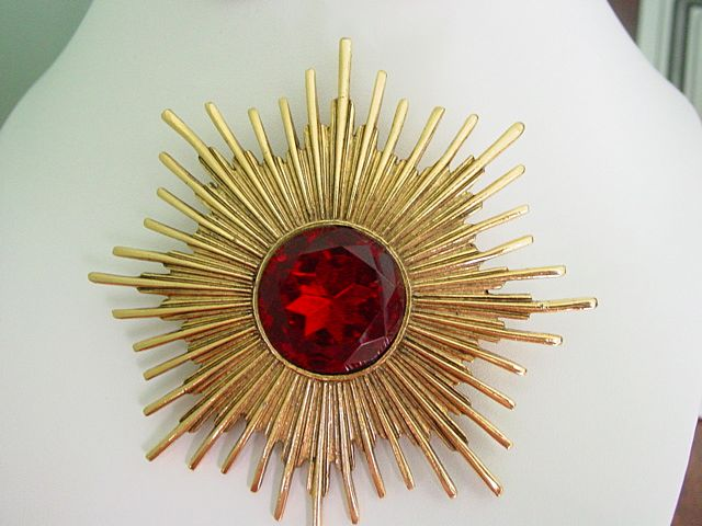 Huge Accessocraft NYC Ruby Red Rhinestone Atomic Design Pin Pendant