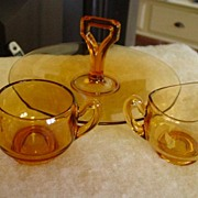 Dime Store Glass Amber Topaz Color Glass 3 Piece Dessert Serving Set
