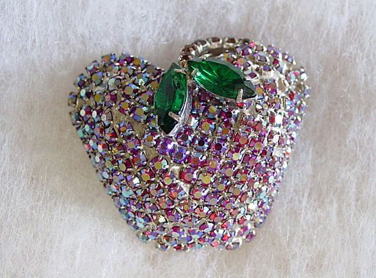 Apple of My Eye Aurora Borealis Rhinestone Pin