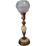 Art Deco  Brass & Marble Table Lamp w Holophane Globe Shade