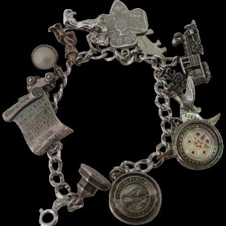 SS East Coast  MD PA VA Patriotic Theme Charm Bracelet