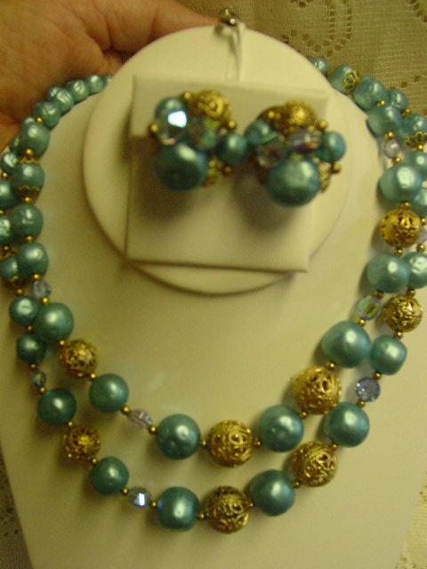 Vintage Beaded Bauble Blue Parure