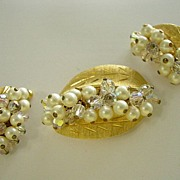 Beaded Faux Pearl and Crystal Leaf design Pin and Earrings Parure Set
