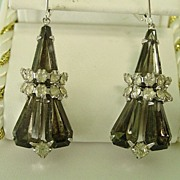 Black and Clear Rhinestone Dangle Drop Earrings