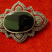 Ornate Sterling Silver Black Onyx & Marcasite Large Brooch Pin