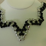 Very Unique Black & Clear Crystal Necklace