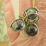 Vintage 60's Modernistic Big Blue Ball Glass Ring