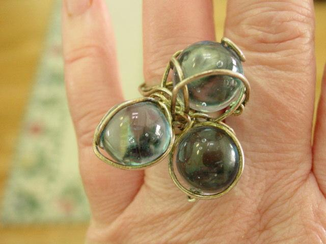 Vintage 60's Modernistic Big Blue Ball Glass Ring