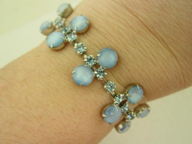 Vintage Blue Milk glass Stone and Blue Rhinestone Wide Bracelet