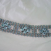 Beautiful Blue Raised Rhinestone Wide Bracelet