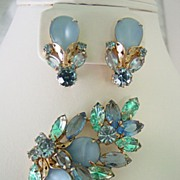 Juliana Parure w Layer Blue on Blue Open Back Rhinestones Demi Parure