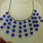 Vintage Blue  & AB Crystal Long Dangle Cascade Necklace