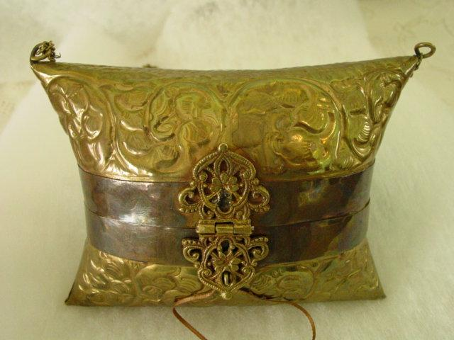 Vintage Brass Evening Hard Case Minaudiere Purse