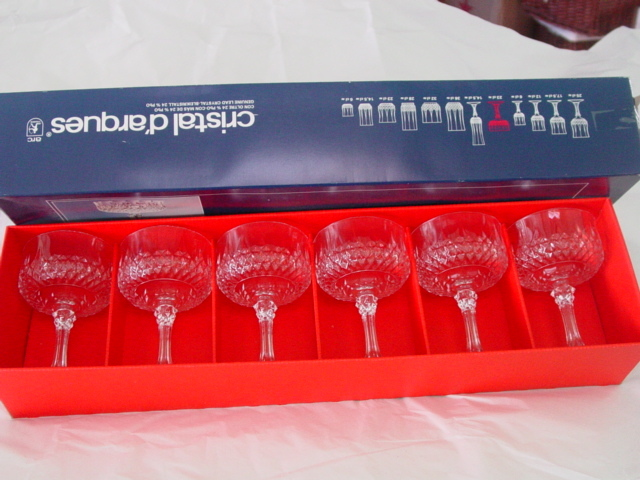 Cristal D'arques Set of 6 Longchamp Lead Crystal Glass Goblets