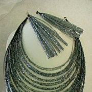 Dangle Jangle Super long Silvery Gray Color Beaded Earrings and Multi Strand Necklace Demi Parure