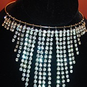 Vintage Dangle Bib Rhinestone Necklace