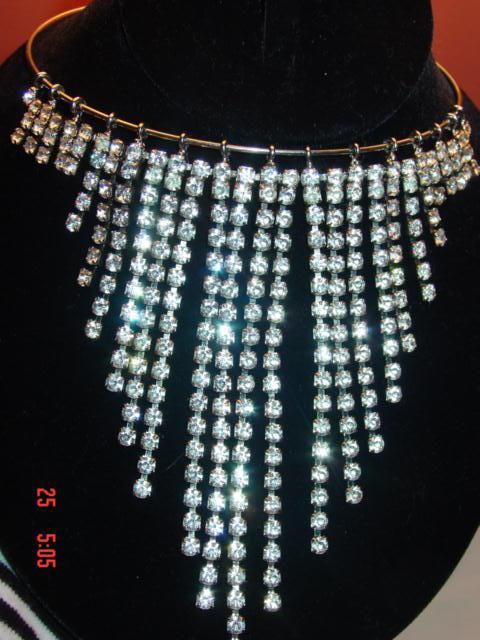 Vintage Dangle Bib Rhinestone Necklace