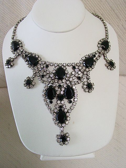 Juliana Drop Dead Drippy Diva Delight Black Rhinestone Huge Necklace