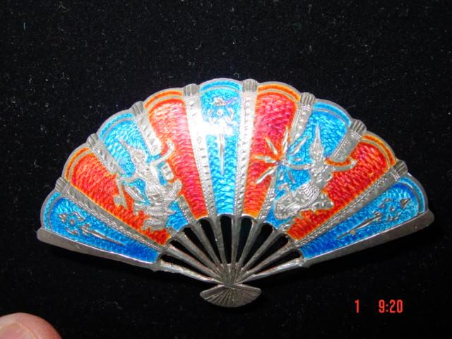 Sensational Color Siam Sterling Silver Large Fan Pin