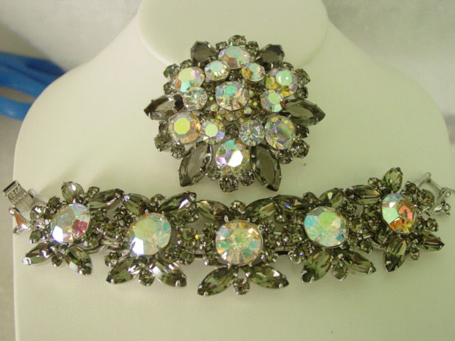 Juliana D&E  Aurora Borealis & Smokey Gray Huge Demi Parure
