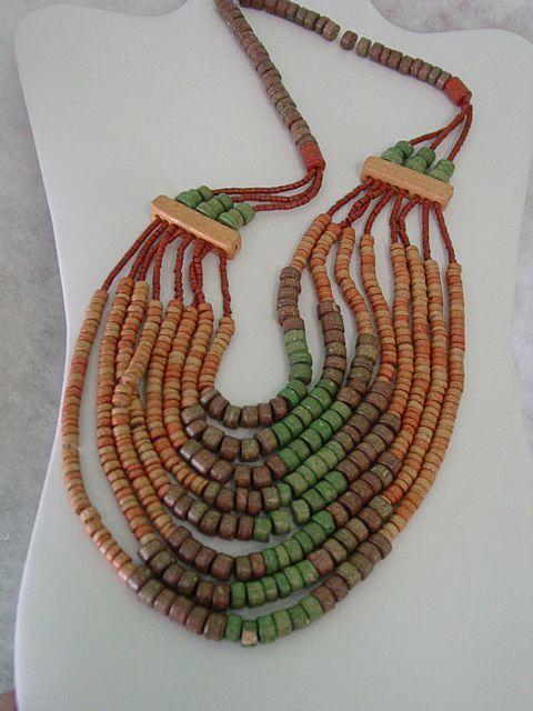 Multi Color Multi Strand Clay Beaded Boho Bib Necklace