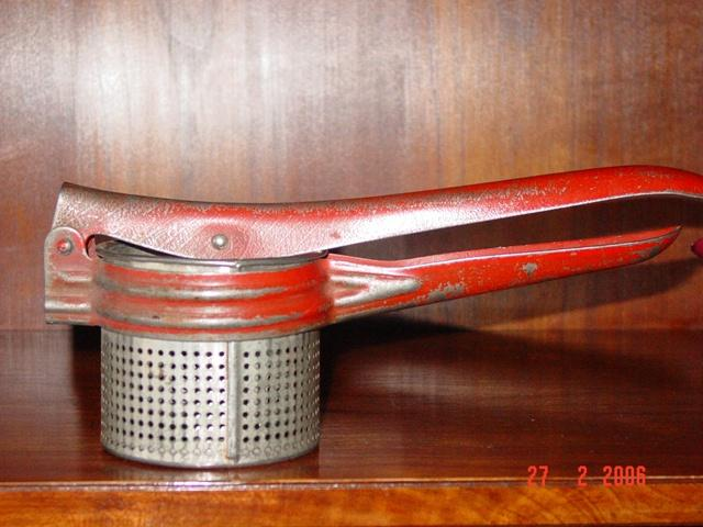 Vintage Red painted Potato Vegetable Masher