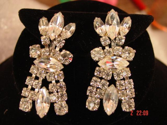 Vintage Huge Rhinestone Shoulder Duster Earrings