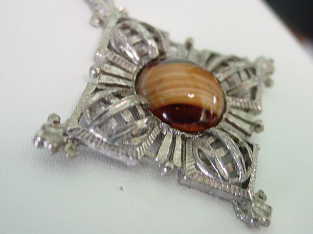 Ornate Swirl Design Faux Tiger Eye Necklace
