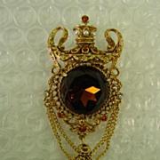 Florenza Brown Orange RS & Faux Pearl Crown Dangle Brooch Pin