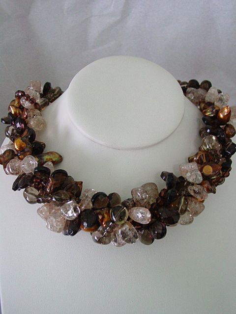 Glass Seed Beads and Enhanced Danburite Crystal and Faceted cut Crystal Torsade Necklace