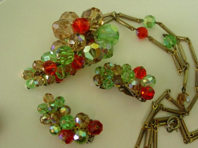 Dangle Grape Bunch Multi Color Crystal Parure