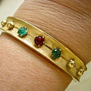 Red and Green Rhinestone Bangle Bracelet