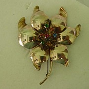 Hand Made Huge Sterling Silver & Rhinestone Flower Pin