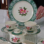 Homer Laughlin Century Service Teal Green Dessert Set China