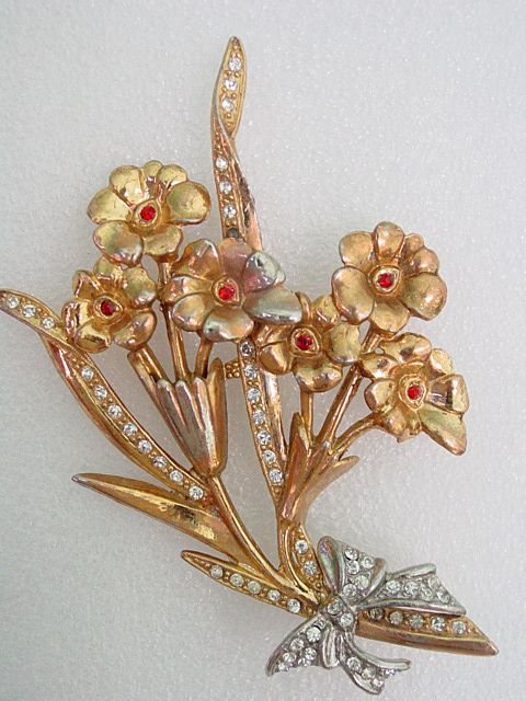 Huge  Red & Clear Rhinestone Floral Bouquet Pin Brooch