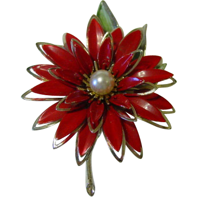 Enamel Poinsettia Pin w Multi Layers w Fake Pearl Center Huge