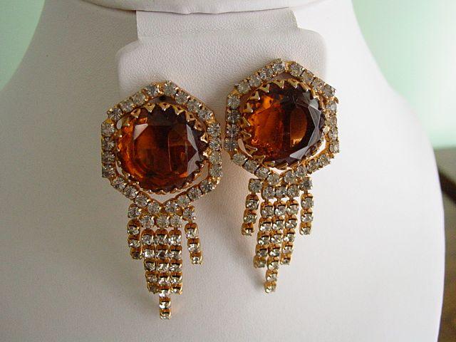 Huge Red Carpet Amber and Rhinestone Dangle Shoulder Duster Earrings