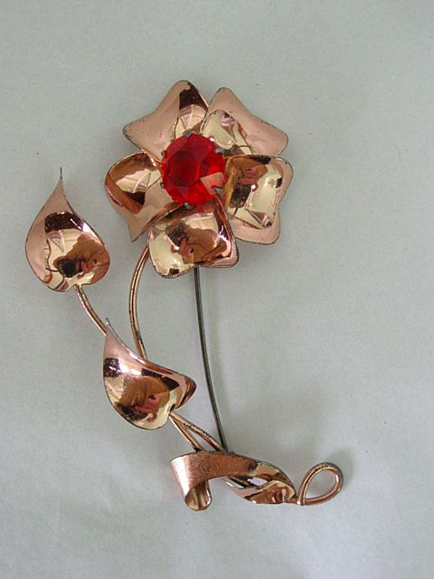 Jordon Sterling Silver Large  Red Crystal Flower Pin.