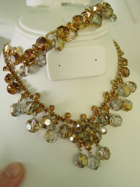 Juliana Demi Parure of Topaz Color Rhinestones w Dangle Crystals w AB Finish