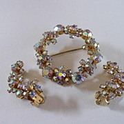 Kramer Aurora Borealis Pin & Earring Demi Parure Set