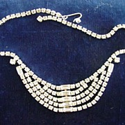 Vintage 5 Row Strand Rhinestone Kramer of New York Necklace