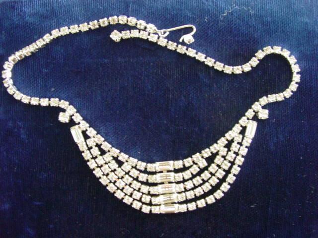 Vintage 5 Row Strand Rhinestone Kramer of New York Necklace