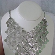 Large Silvertone Dangle Bib Necklace
