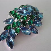 Large Layered Green & Blue Rhinestone Pin